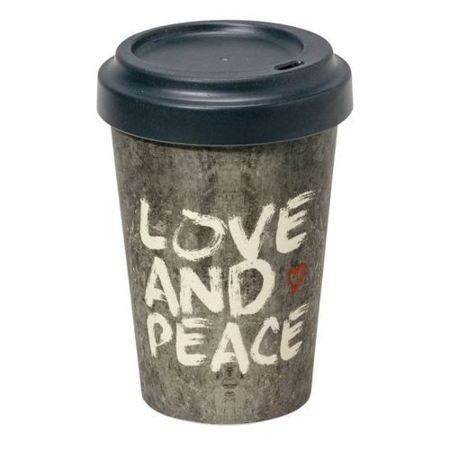 To Go Becher Love & Peace 0,4L Bambus