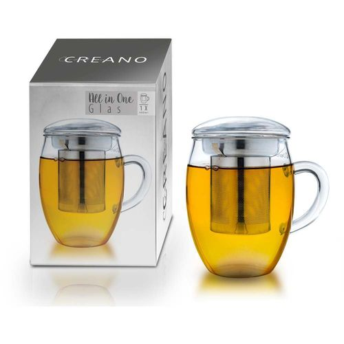 Creano Teeglas All in One Edelstahlsieb